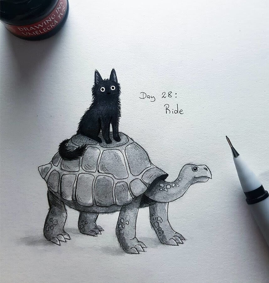 04-Black-cat-and-the-Tortoise-Kleevia-Animal-Art-www-designstack-co