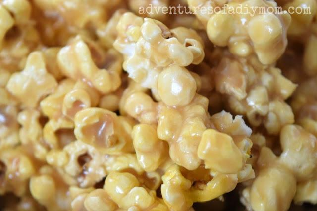 close up of homemade caramel popcorn