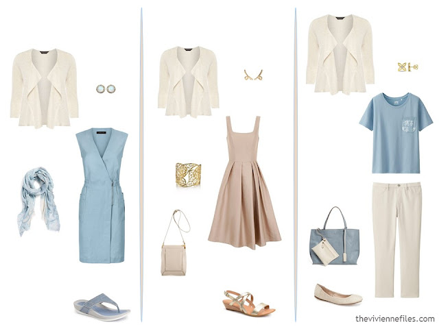 3 ways to wear a cream cardigan, with blue and beige