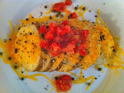 Baked Potato Slices with Cheese and Salsa