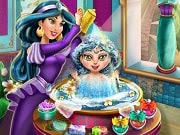 Have a great time playing this new Baby game called Jasmine Baby Wash on GamesGirlGames.com. Go on a magical mother daughter bonding adventure with Jasmine and her little girl to learn how to take care of a baby princess. Wash the cute girl using the finest products found in the kingdom of Agrabah and get ready for the magic carpet ride!