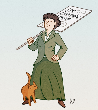 illustration of Cats Protection founder Jessey Wade with cat