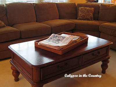 coffee table with rectangle basket