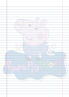 Folha Papel Pautado George Pig PDF para imprimir na folha A4