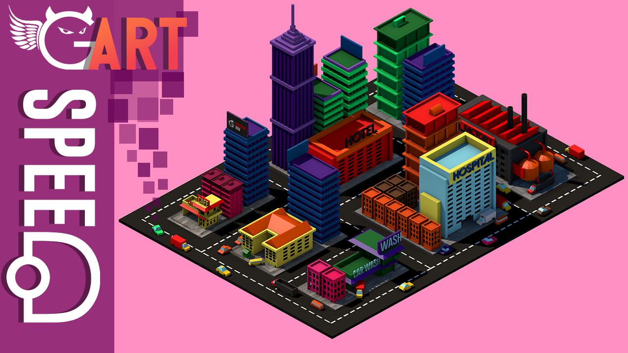 LOWPOLY CITY BLOCKS | C4D SPEEDART - Oussamaster Gamer