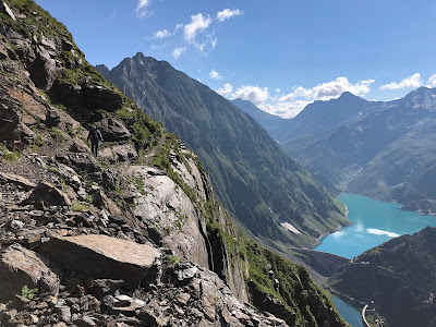 On the trail to Rifugio Curò with Reservoir of Barbellino visible (day 5).