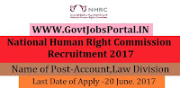 National Human Right Commission Recruitment 2017-Investigation Division, Research Division, Accounts, Law Division