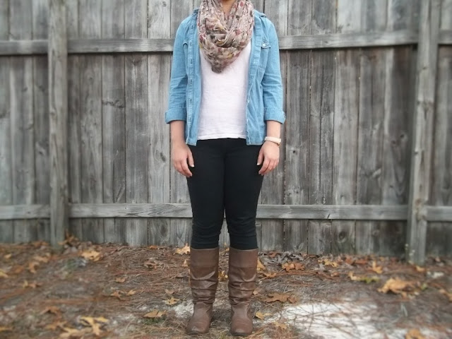 chambray a new way outfit clothes brown riding boots black skinny jeans light pink blush lace top infinity scarf casual inspiration Dressember
