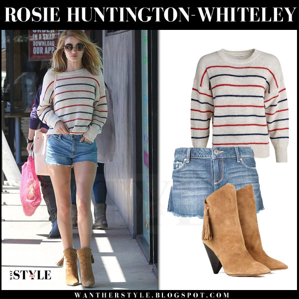 Rosie Huntington-Whitele in striped knit isabel marant gatland sweater and denim cutoff shorts paige denim keira what she wore models off duty