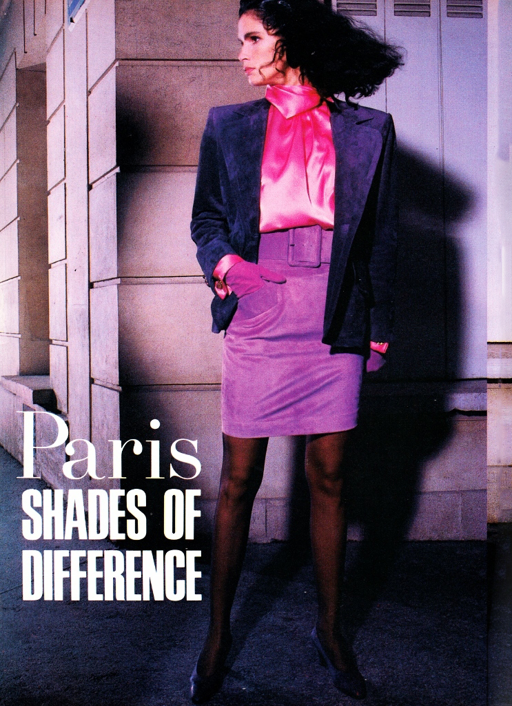 Yves Saint Laurent in Vogue US June 1987 (photography: Guy Bourdin) via www.fashionedbylove.co.uk