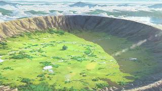 Kadr z anime Kimi no Na wa. Krater po uderzeniowy