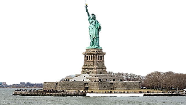 Statue of Liberty erected on Liberty Island by France.