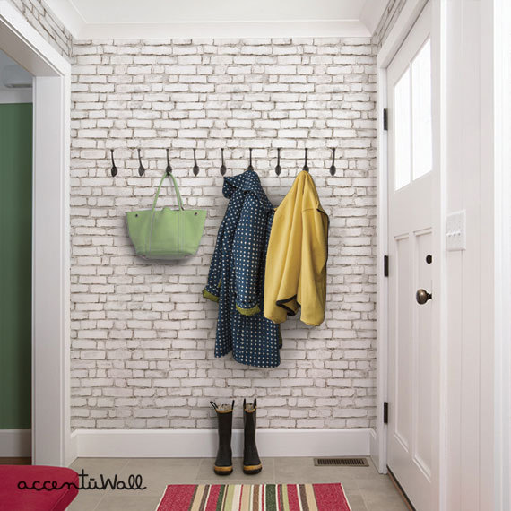 Faux brick wallpaper. Perfect for an entry, mudroom, or accent wall!