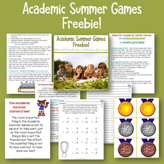 Let the games begin! This post tells about a great way to maintain academics at the end of the school year and have some fun by adding an Olympics theme. (It also works well in summer school.) Plus, there's a freebie!