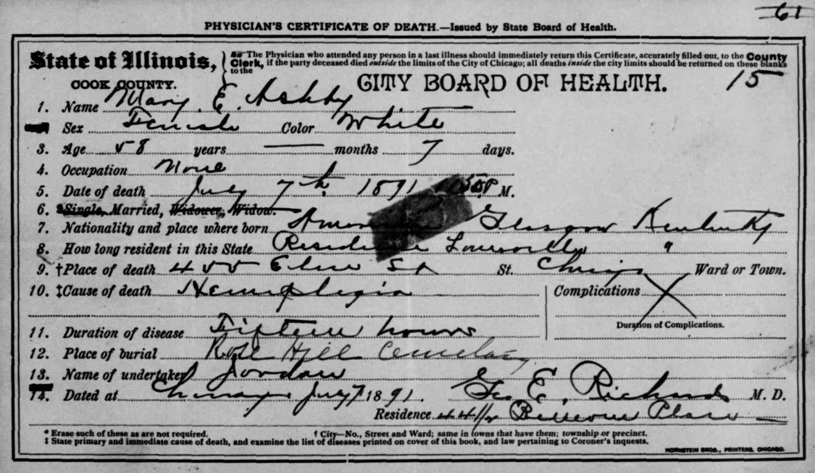 From maine to kentucky amanuensis monday 1891 death certificate from illinois department of public health division of vital records springfield illinois accessed 582011 mary e ashby died 7 july 1891 aiddatafo Image collections