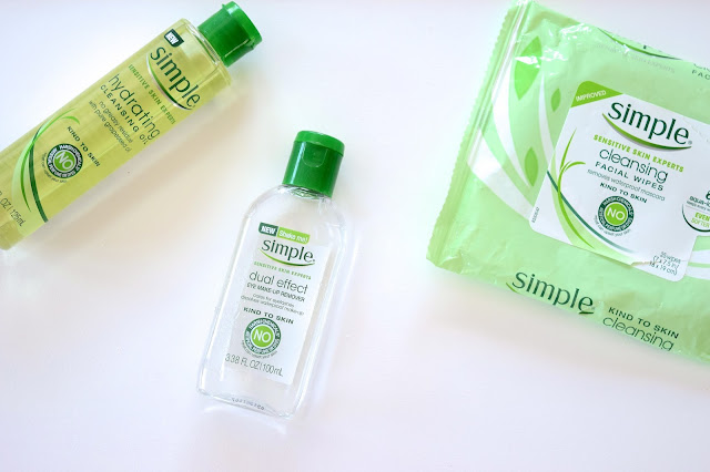 a picture of  Simple Skincare ; Cleansing Wipes, Dual Effect Eye Make-Up Remover, Hydrating Cleansing Oil #Makeup4MakeUp