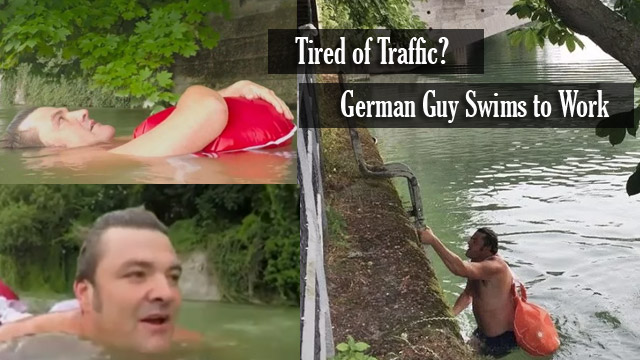 Tired of Traffic: German Guy prefer to Swim in the River Going to Work
