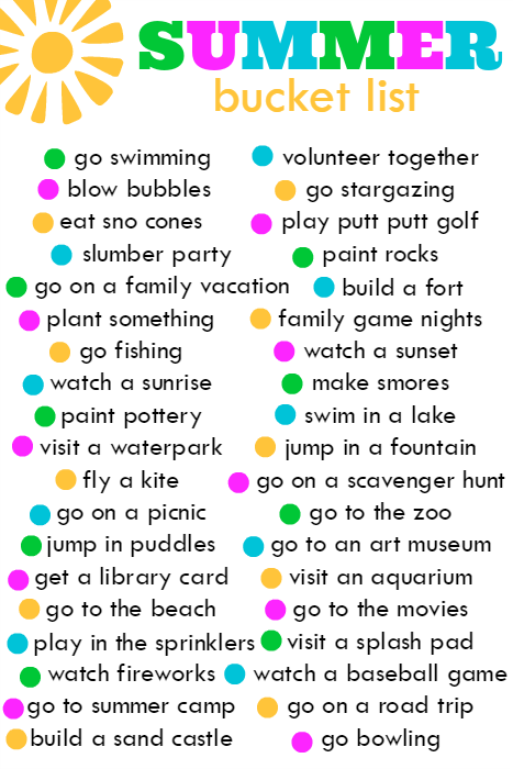 Summer Bucket List!!!