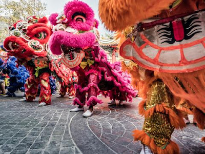 New year greeting Chinese Lion dance