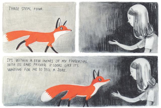 Página interior del cuento ilustrado por Isabel Arsenault Jane el zorro y yo, escrito por Fanny Britt