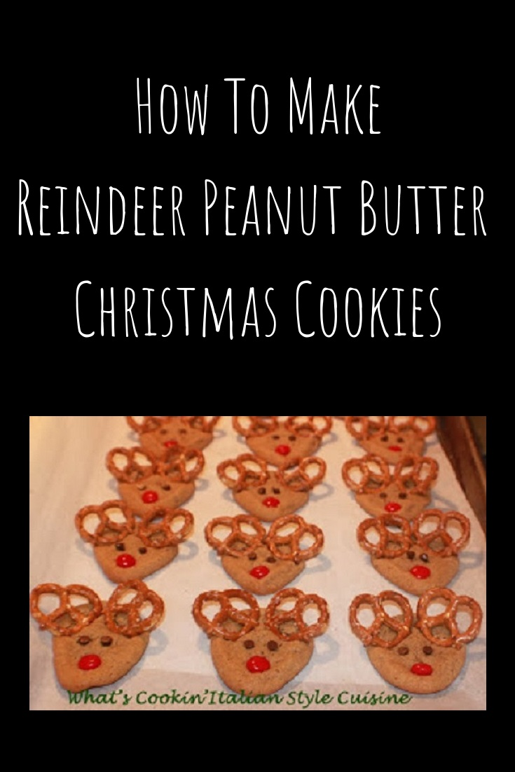 these are peanut butter cookies shaped into a reindeer with pretzel ears, mini chocolate chips for the eyes and red hot cinnamon candy for the nose. A festive Christmas cookie