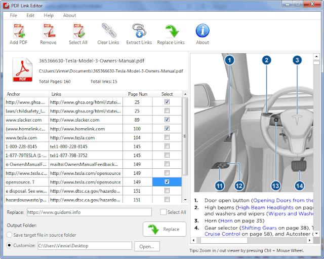 PDF Link Editor interfaccia grafica