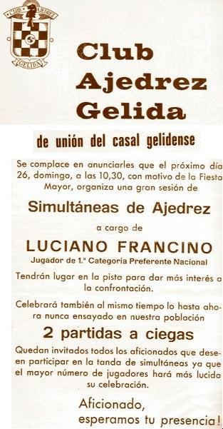 Simultáneas de ajedrez de Lucien Francino, Gelida 1978