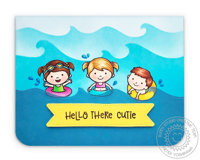Sunny Studio Stamps: Coastal Cutes Hello There Card (using vellum with Catch A Wave Dies & Beach Babies Stamps)