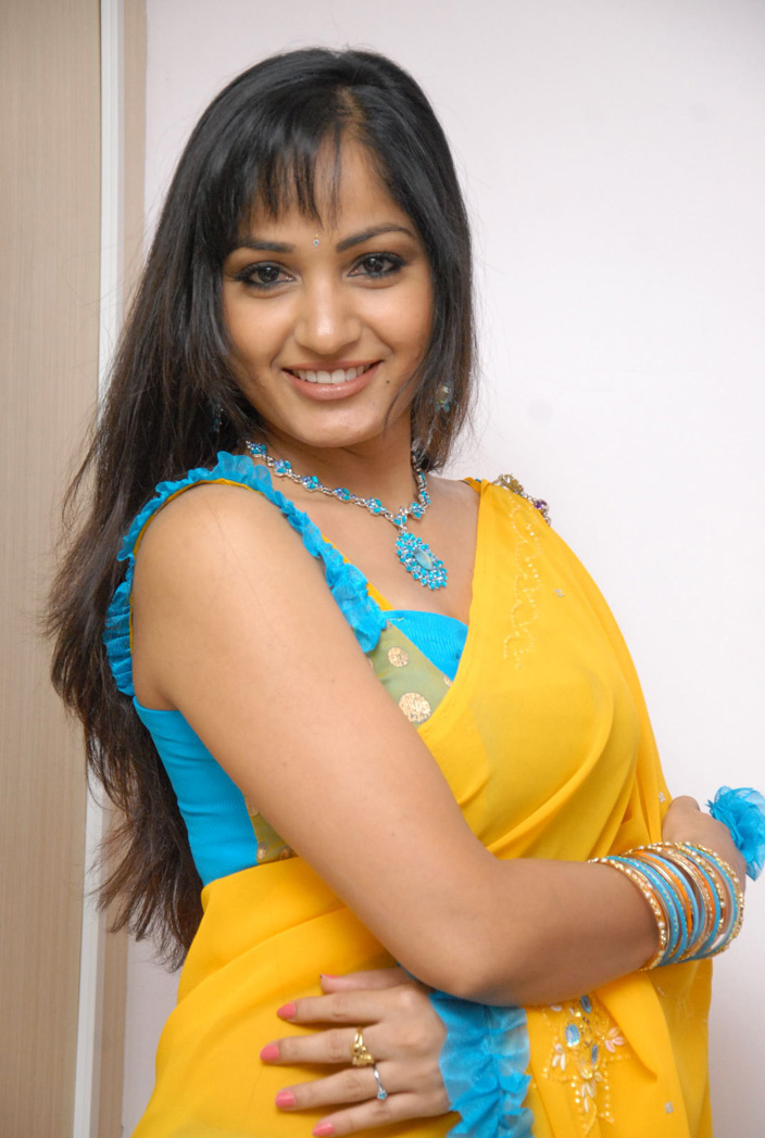 Madhavi Latha Latest Stills in Yellow Saree