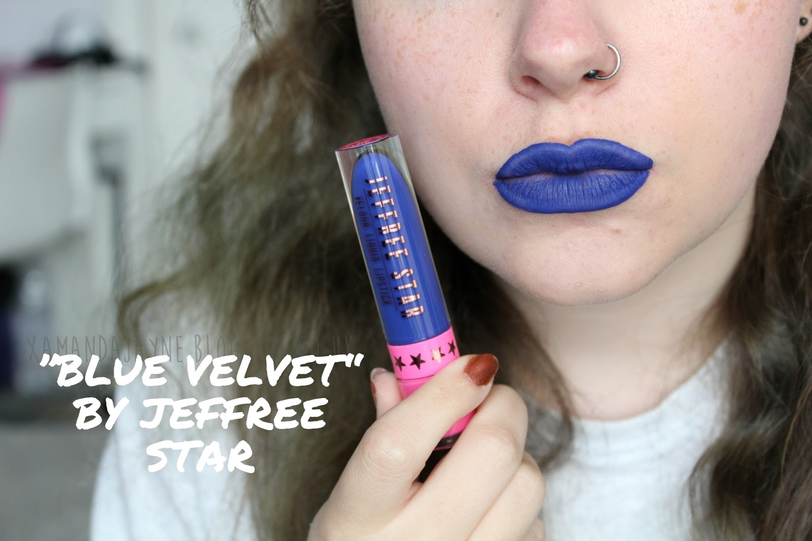 liquid lipstick, jeffree star, jeffree star cosmetics, swatches, drug lord, blue velvet, review, vegan, cruelty-free, long-lasting, high-end beauty