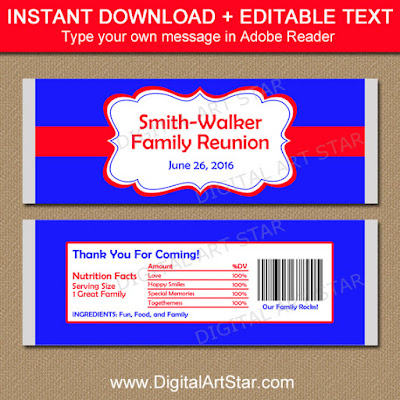 family reunion candy wrappers - the perfect party favors - in red and royal blue