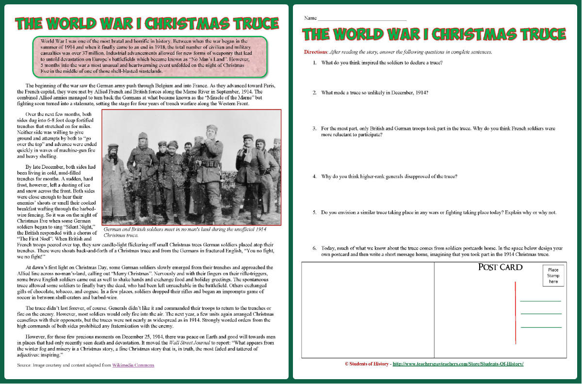 Students of History: World War 1 Reading on Christmas Truce Lesson Plan