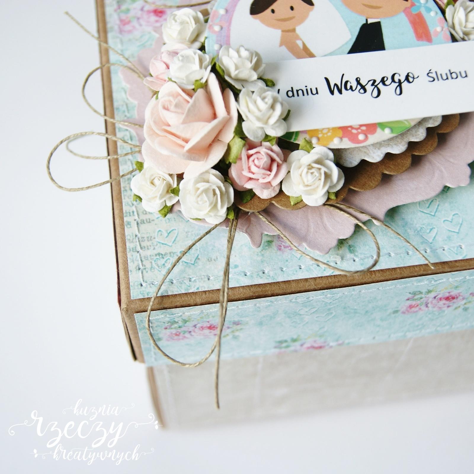 Ślubny, pastelowy, kreatywny exploding box dla młodej pary, Andżeli i Bartka.