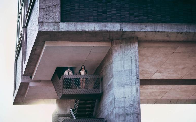 Plus Size Model Ashley Graham V Magazine Editorial Balcony Shot Far
