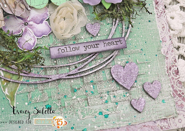 """Follow Your Heart"" Mixed Media Card by Tracey Sabella for Studio75: #traceysabella #studio75 #scrapiniec #littlebirdiecrafts #acmoore #littlebirdiecraftsflowers #agateria #finnabair #helmar  #timholtz #rangerink #lindysgang #sethapter #mixedmedia #shabbychic #mixedmediaart #mixedmediacard #mixedmediacards #shabbychiccard #shabbychiccards #diycard #diycards #handcraftedcard #handcraftedcards #diycrafts  #handmadecard #handmadecards #chipboard"