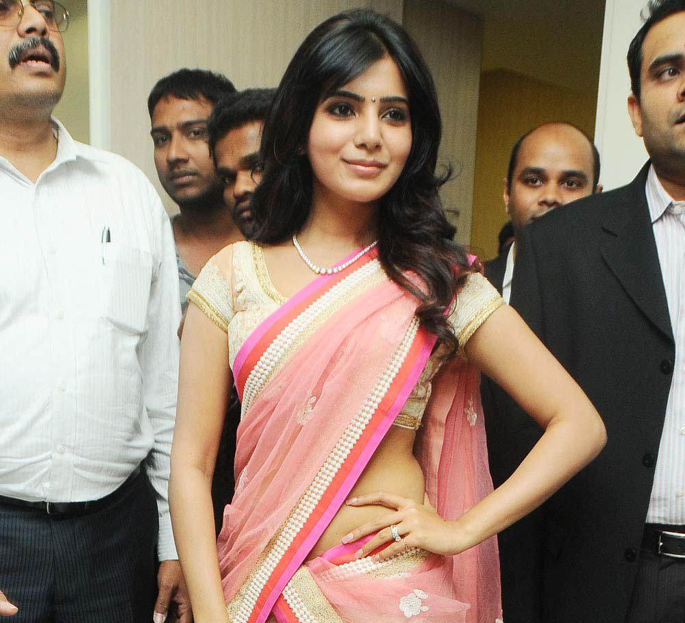 glorious and ornamental Samantha at kirtilals in pink saree