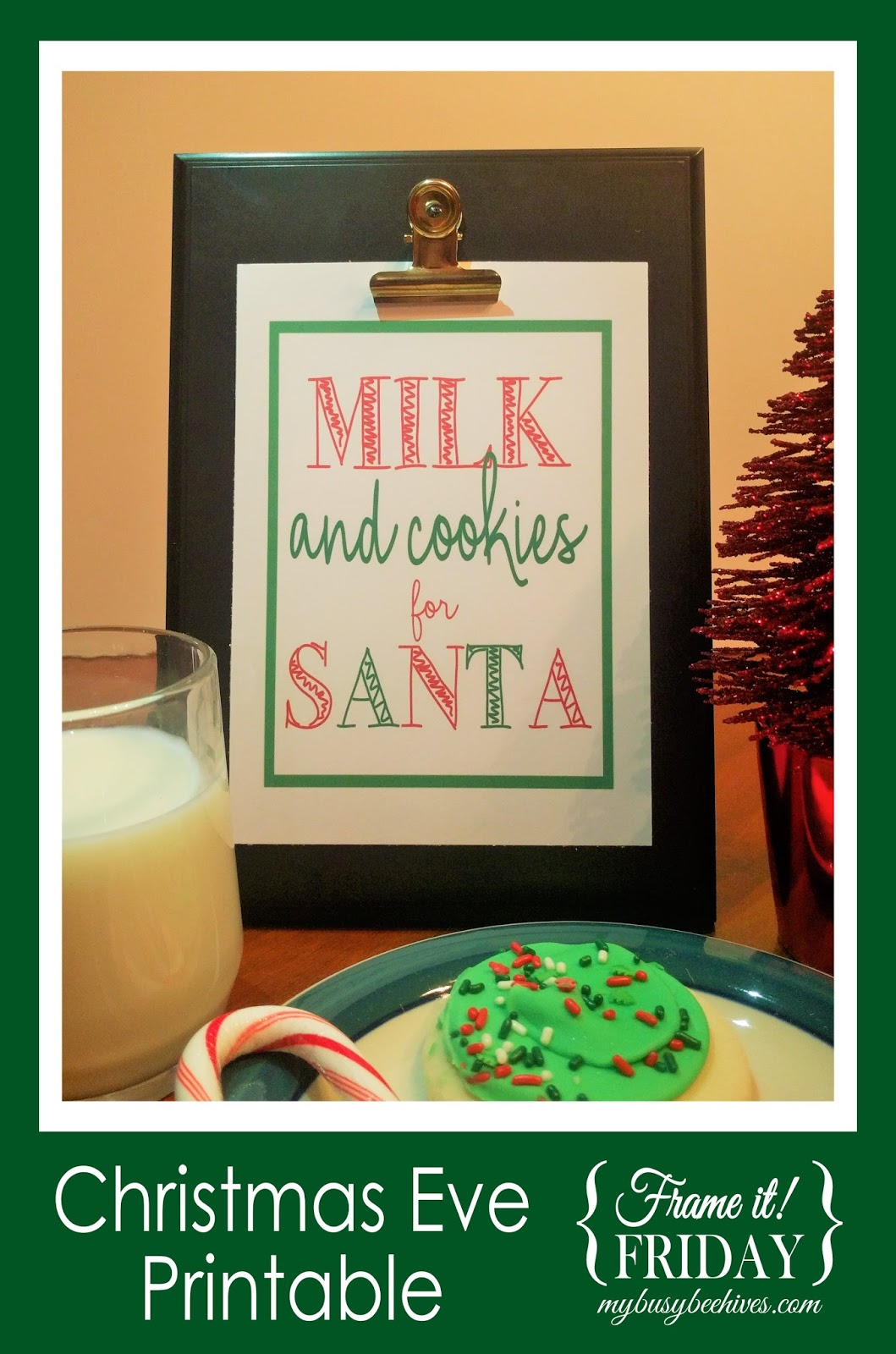 free printable milk and cookies for santa sign