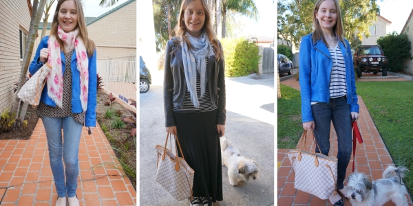 Wearing the Damier Azur Neverfull Tote In Winter: 3 Outfit Ideas | awayfromtheblue