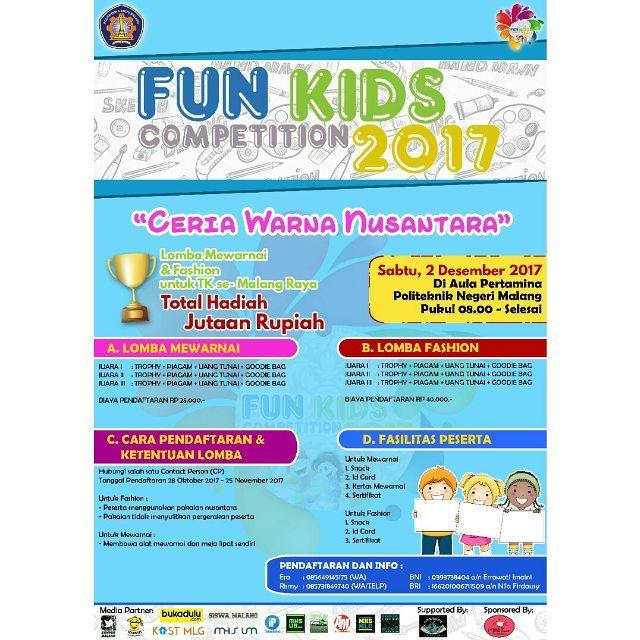 Lomba Fun Kids Competition 2017 Untuk TK Se-Malang Raya | Politeknik Negeri Malang | Deadline 25 November 2017