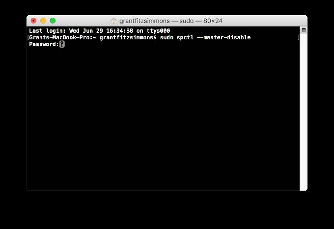 Disable Gatekeeper in macOS Sierra