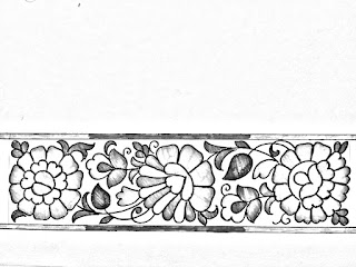 Flower border design drawing and sketch on tracing paper for hand work