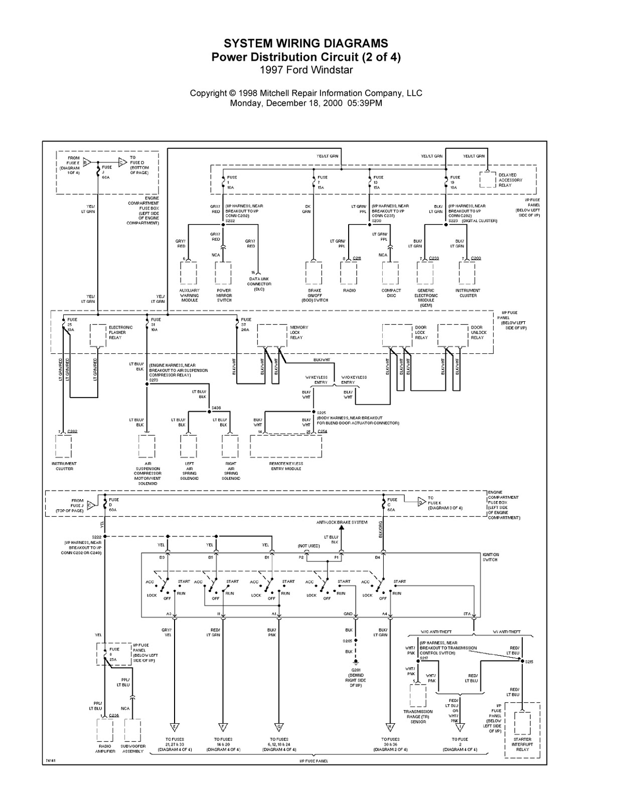Complete System Wiring Diagrams 1997 Ford Windstar Fuse Diagram 2003 Abs Recall
