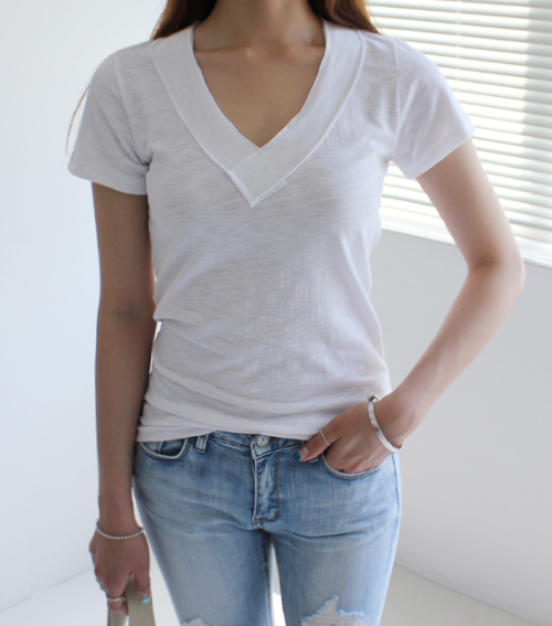 See-Through V-Neck T-Shirt