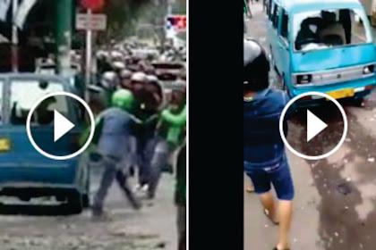 Detik-detik Mencekam Video Perang Batu Ojek Online Vs Angkot Bogor