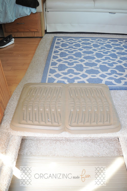Rubber car mats to help keep dirt and rocks from getting all over the RV :: OrganizingMadeFun.com