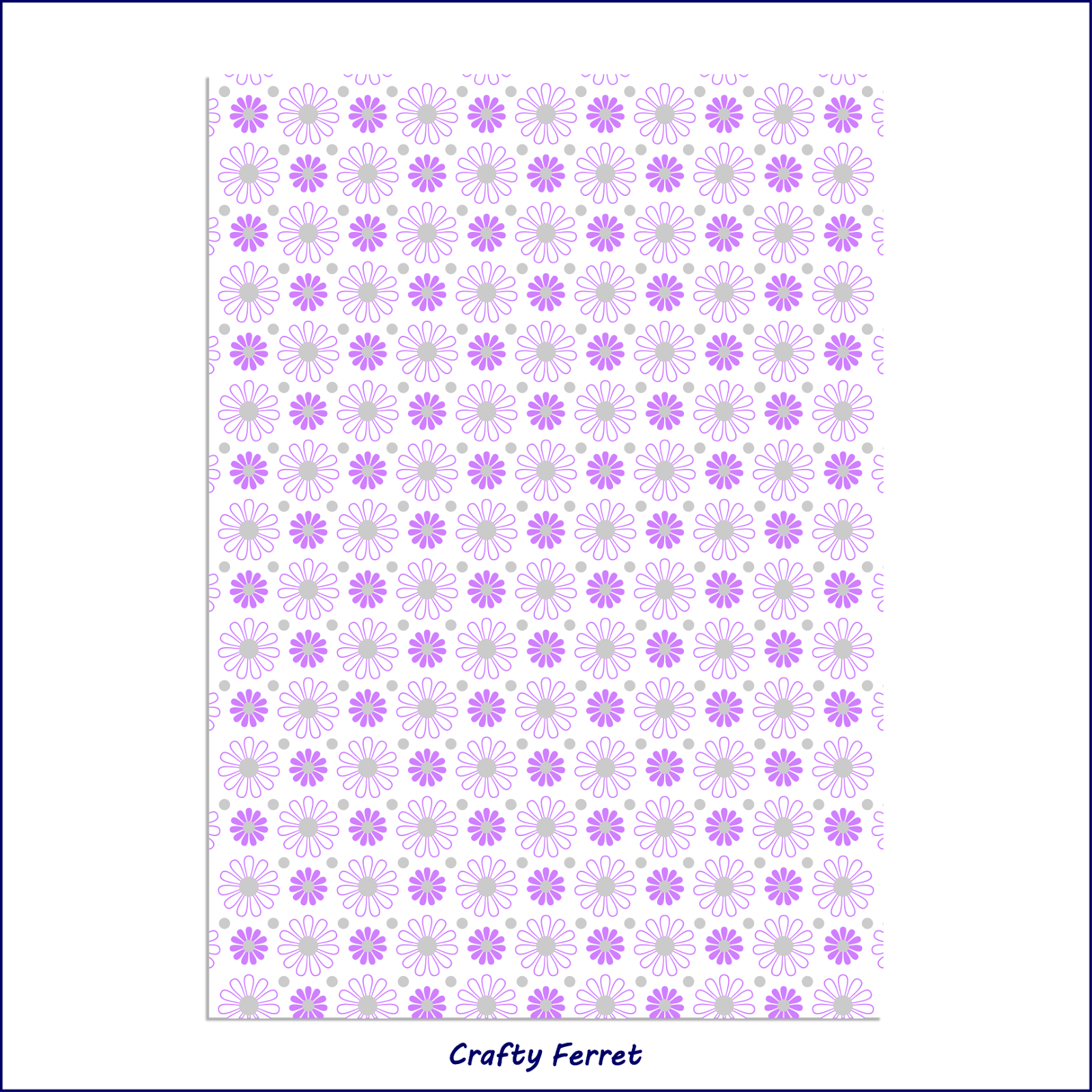 Simple daisy purple and grey printable pattern design free sample test print.