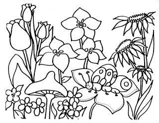 Printable Flower On Garden Coloring Sheet For Free