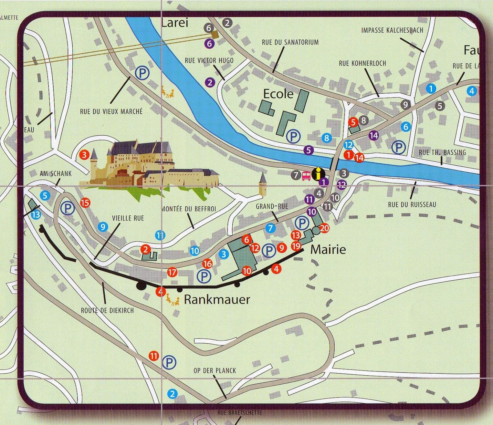 zoom no mapa de Vianden