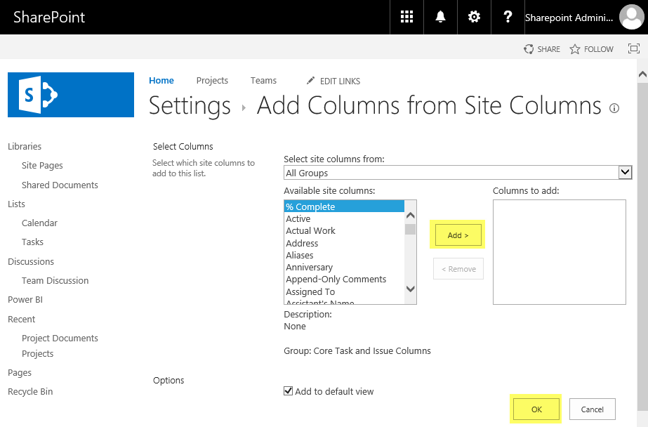 SharePoint Online: Add Site Column to List using PowerShell