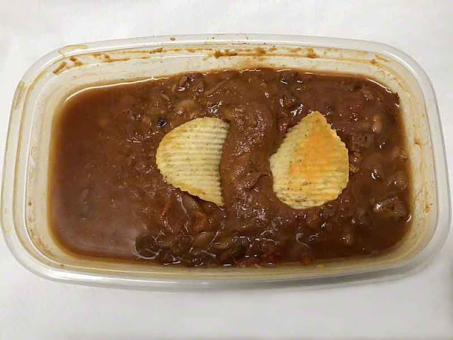 Tupperware, chili beans, pizza potato chips